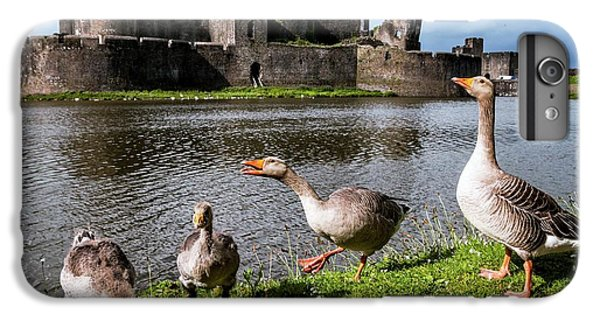 Gosling iPhone 8 Plus Case - Greylag Geese And Caerphilly Castle by Paul Williams