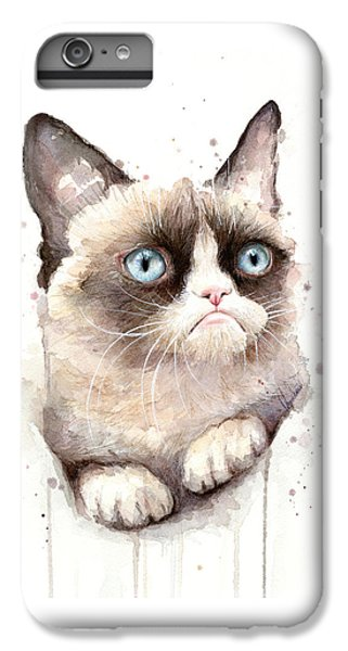 Cat iPhone 8 Plus Case - Grumpy Cat Watercolor by Olga Shvartsur