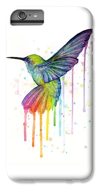 Animals iPhone 8 Plus Case - Hummingbird Of Watercolor Rainbow by Olga Shvartsur