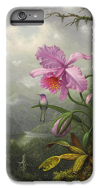 Orchid iPhone 8 Plus Case - Hummingbird Perched On The Orchid Plant by Martin Johnson Heade