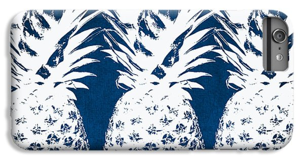 For iPhone 8 Plus Case - Indigo And White Pineapples by Linda Woods