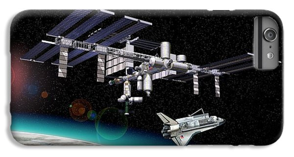 International Space Station iPhone 8 Plus Case - International Space Station And Shuttle by Leonello Calvetti/science Photo Library