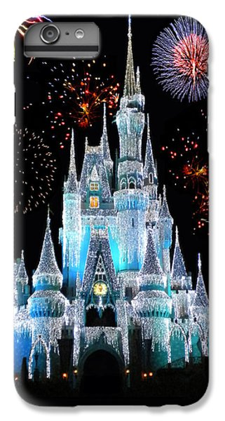 Castle iPhone 8 Plus Case - Magic Kingdom Castle In Frosty Light Blue With Fireworks 06 by Thomas Woolworth