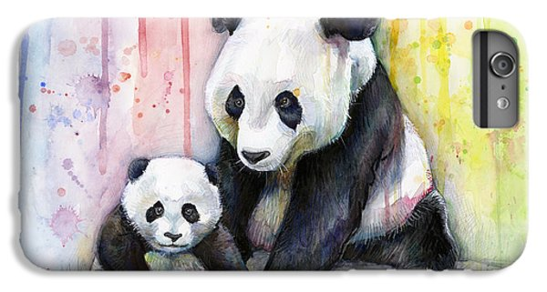 Animals iPhone 8 Plus Case - Panda Watercolor Mom And Baby by Olga Shvartsur