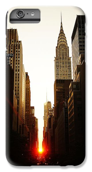 City Scenes iPhone 8 Plus Case - Manhattanhenge Sunset And The Chrysler Building  by Vivienne Gucwa