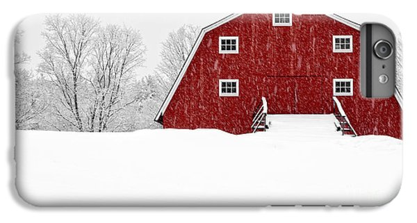 New England Barn iPhone 8 Plus Case - New England Red Barn In Winter Snow Storm by Edward Fielding