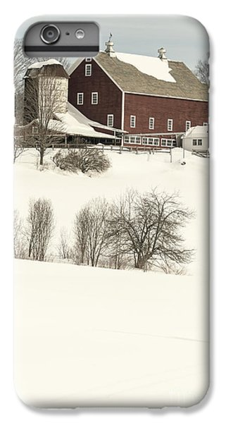 New England Barn iPhone 8 Plus Case - Old Red New England Barn In Winter by Edward Fielding