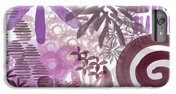 Orchid iPhone 8 Plus Case - Plum And Grey Garden- Abstract Flower Painting by Linda Woods