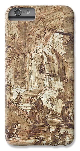 Dungeon iPhone 8 Plus Case - Preparatory Drawing For Plate Number Viii Of The Carceri Al'invenzione Series by Giovanni Battista Piranesi