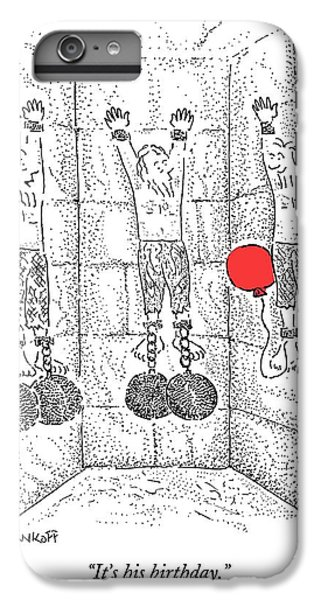 Dungeon iPhone 8 Plus Case - Prisoner In Dungeon Has Orange Balloons Attached by Robert Mankoff