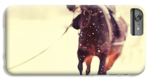 Horse iPhone 8 Plus Case - Race In The Snow by Jenny Rainbow