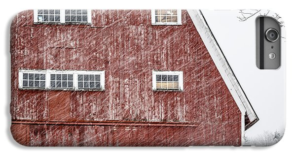 New England Barn iPhone 8 Plus Case - Red Barn Whiteout by Edward Fielding