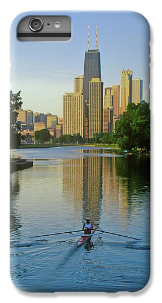 Chicago River iPhone 8 Plus Case - Rower On Chicago River With Skyline by Panoramic Images