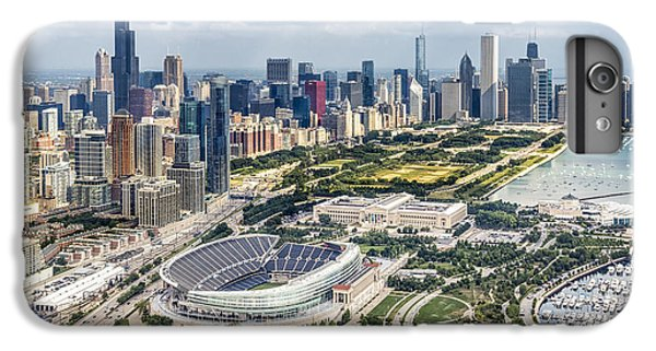 Helicopter iPhone 8 Plus Case - Soldier Field And Chicago Skyline by Adam Romanowicz