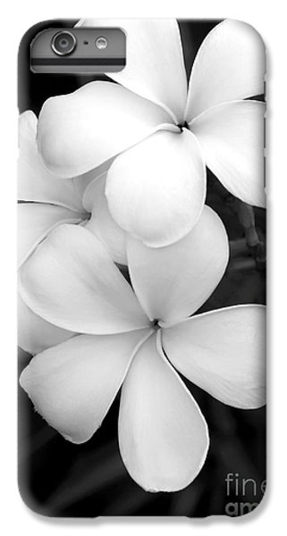 Orchid iPhone 8 Plus Case - Three Plumeria Flowers In Black And White by Sabrina L Ryan