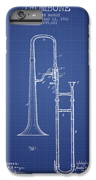 Trombone iPhone 8 Plus Case - Trombone Patent From 1902 - Blueprint by Aged Pixel