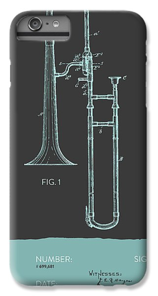 Trombone iPhone 8 Plus Case - Trombone Patent From 1902 - Modern Gray Blue by Aged Pixel