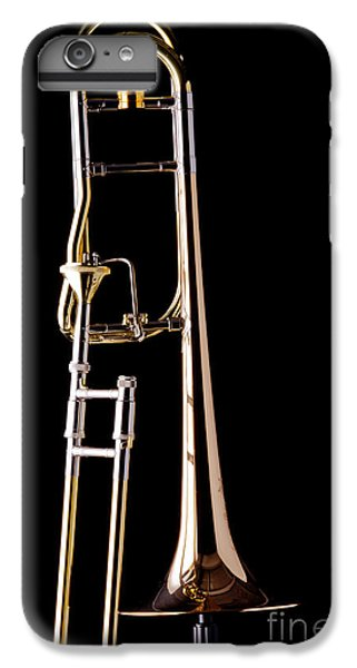 Trombone iPhone 8 Plus Case - Upright Rotor Tenor Trombone On Black In Color 3465.02 by M K  Miller