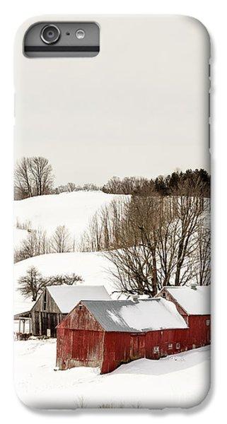 New England Barn iPhone 8 Plus Case - Vermont Farm Scene In Winter by Edward Fielding