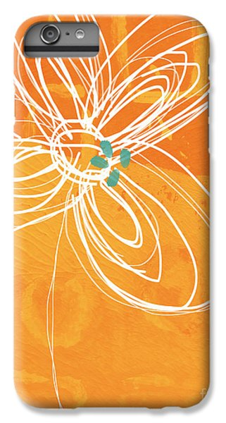For iPhone 8 Plus Case - White Flower On Orange by Linda Woods