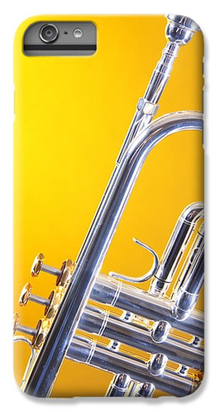 Trumpet iPhone 8 Plus Case - Silver Trumpet Isolated On Yellow by M K  Miller