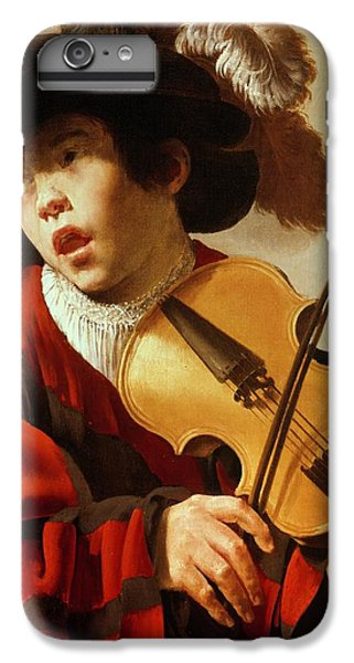 Violin iPhone 8 Plus Case -  Boy Playing Stringed Instrument And Singing by Hendrick Ter Brugghen