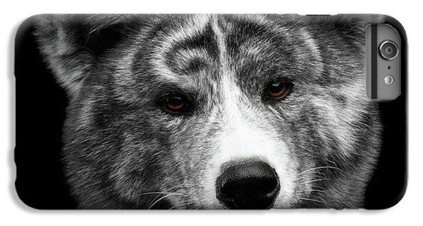 Dog iPhone 8 Plus Case - Closeup Portrait Of Akita Inu Dog On Isolated Black Background by Sergey Taran
