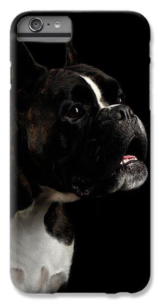 Dog iPhone 8 Plus Case - Purebred Boxer Dog Isolated On Black Background by Sergey Taran