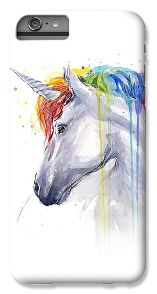 Horse iPhone 8 Plus Case - Unicorn Rainbow Watercolor by Olga Shvartsur
