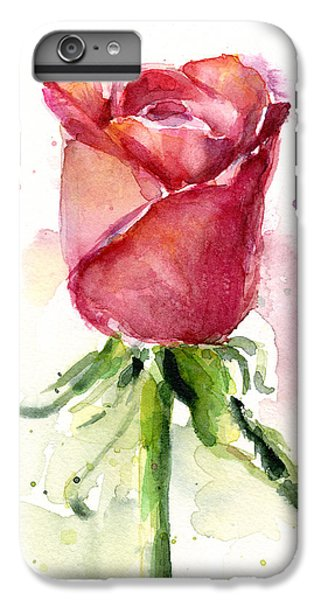 Rose iPhone 8 Plus Case - Rose Watercolor by Olga Shvartsur