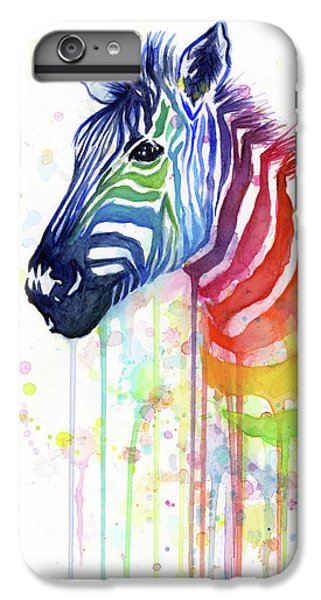 Animals iPhone 8 Plus Case - Rainbow Zebra - Ode To Fruit Stripes by Olga Shvartsur