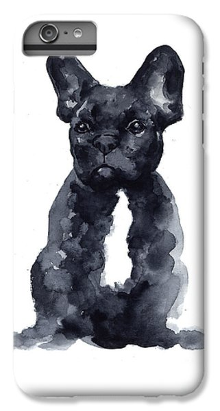 Dog iPhone 8 Plus Case - Black French Bulldog Watercolor Poster by Joanna Szmerdt
