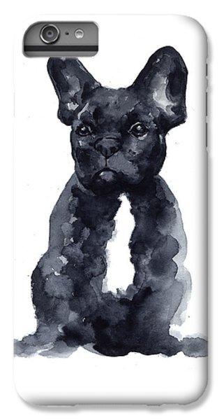 Bull iPhone 8 Plus Case - Black French Bulldog Watercolor Poster by Joanna Szmerdt