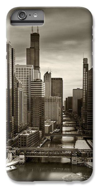 Chicago River iPhone 8 Plus Case - Chicago City View Afternoon B And W 16x20 by Steve Gadomski