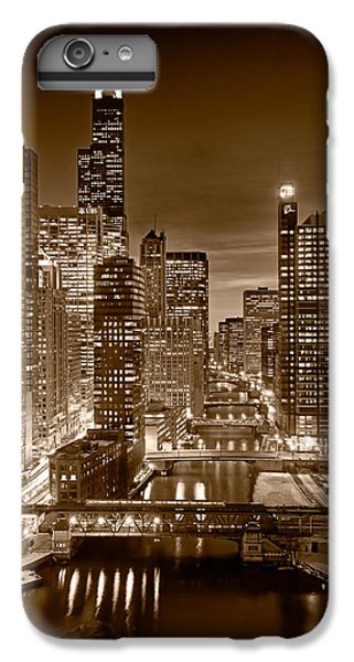 Chicago River iPhone 8 Plus Case - Chicago River City View B And W by Steve gadomski