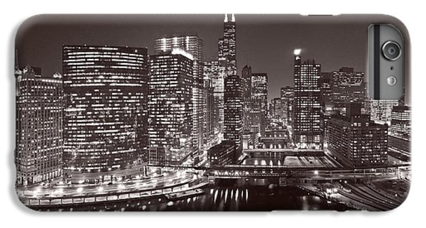 Chicago River iPhone 8 Plus Case - Chicago River Panorama B W by Steve Gadomski