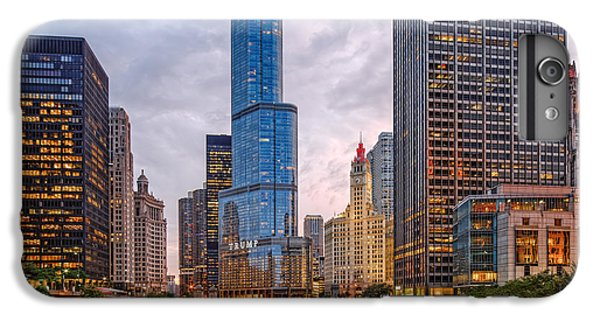 Chicago River iPhone 8 Plus Case - Chicago Riverwalk Equitable Wrigley Building And Trump International Tower And Hotel At Sunset  by Silvio Ligutti