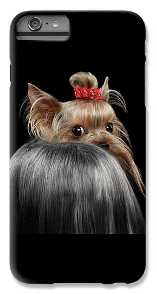 Dog iPhone 8 Plus Case -  Closeup Yorkshire Terrier Dog, Long Groomed Hair Pity Looking Back by Sergey Taran
