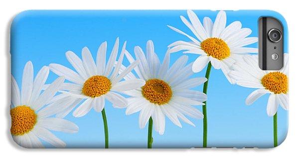 Daisy iPhone 8 Plus Case - Daisy Flowers On Blue by Elena Elisseeva