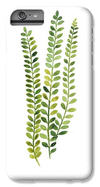 Garden iPhone 8 Plus Case - Green Fern Watercolor Minimalist Painting by Joanna Szmerdt