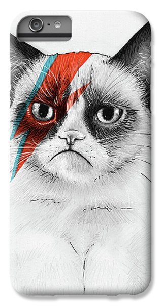 Cat iPhone 8 Plus Case - Grumpy Cat As David Bowie by Olga Shvartsur