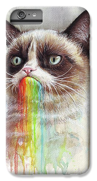 Cat iPhone 8 Plus Case - Grumpy Cat Tastes The Rainbow by Olga Shvartsur