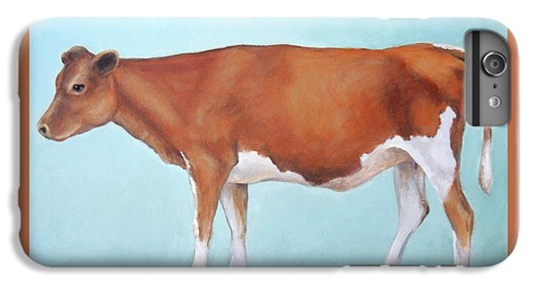 Cow iPhone 8 Plus Case - Guernsey Cow Standing Light Teal Background by Dottie Dracos