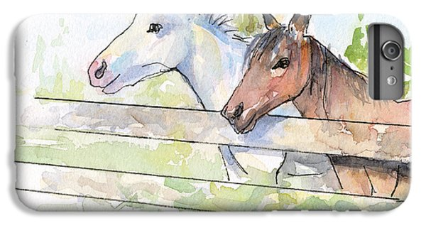 Horse iPhone 8 Plus Case - Horses Watercolor Sketch by Olga Shvartsur