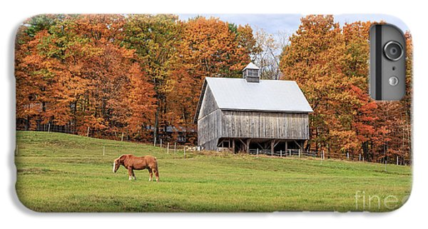 New England Barn iPhone 8 Plus Case - Jericho Hill Vermont Horse Barn Fall Foliage by Edward Fielding