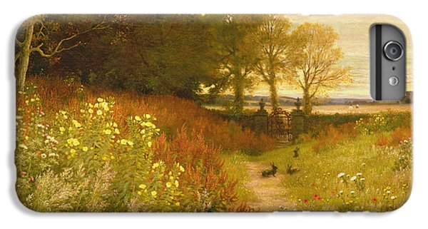 Rural Scenes iPhone 8 Plus Case - Landscape With Wild Flowers And Rabbits by Robert Collinson