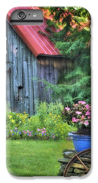 New England Barn iPhone 8 Plus Case - The Country Cottage Garden  by T-S Fine Art Landscape Photography
