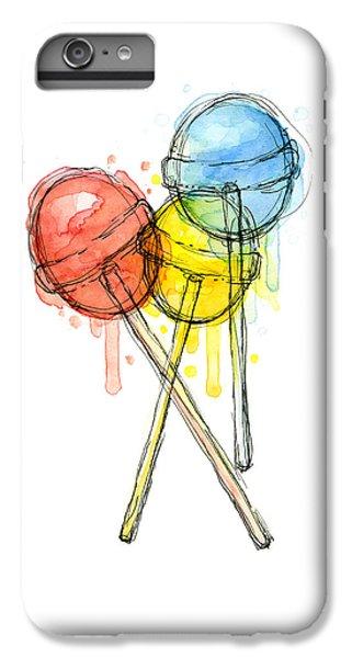 Red iPhone 8 Plus Case - Lollipop Candy Watercolor by Olga Shvartsur