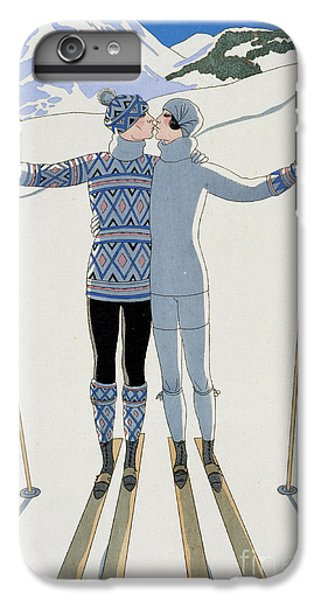 Mountain iPhone 8 Plus Case - Lovers In The Snow by Georges Barbier