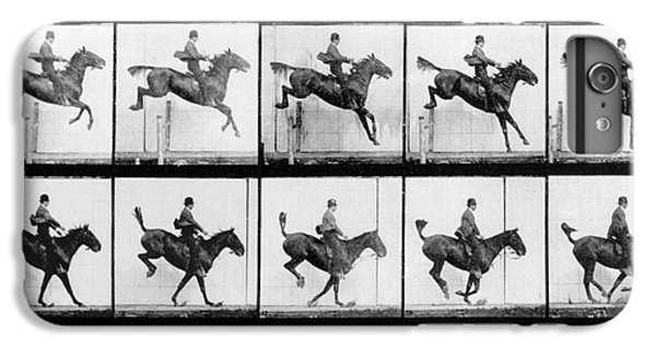 Horse iPhone 8 Plus Case - Man And Horse Jumping by Eadweard Muybridge
